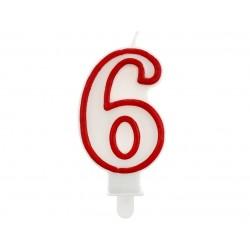 """Žvakutė """"6"""" raudonu kraštu"""