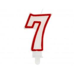 """Žvakutė """"7"""" raudonu kraštu"""