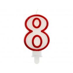 """Žvakutė """"8"""" raudonu kraštu"""