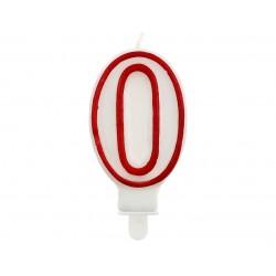 """Žvakutė """"0"""" raudonu kraštu"""