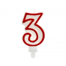 """Žvakutė """"3"""" raudonu kraštu"""