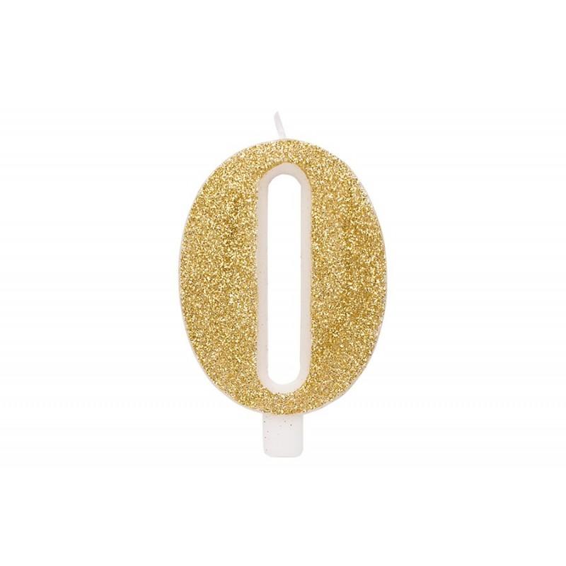 """Auksinė žvakutė tortui skaičius """"0"""""""