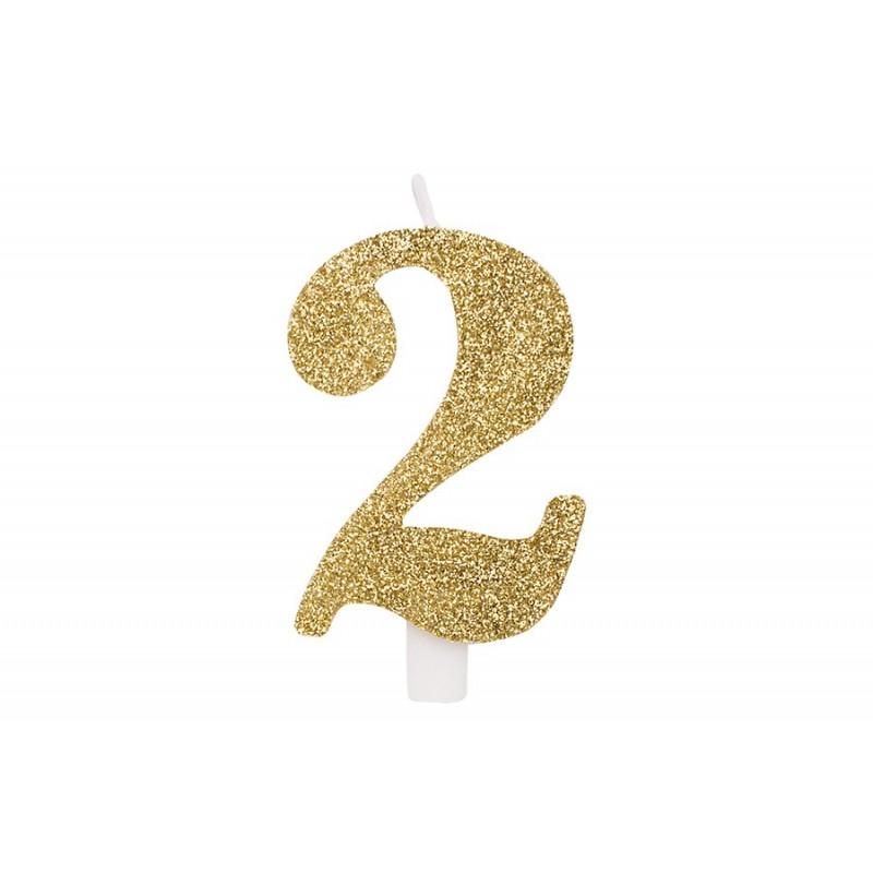 """Auksinė žvakutė tortui skaičius """"2"""""""