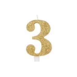 """Auksinė žvakutė tortui skaičius """"3"""""""