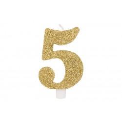 """Auksinė žvakutė tortui skaičius """"5"""""""