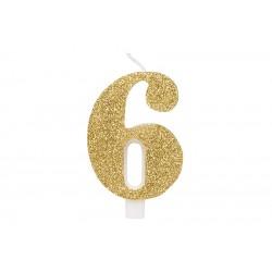 """Auksinė žvakutė tortui skaičius """"6"""""""