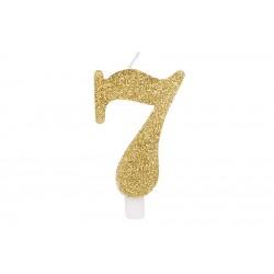 """Auksinė žvakutė tortui skaičius """"7"""""""