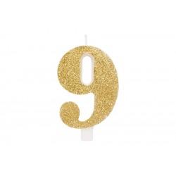 """Auksinė žvakutė tortui skaičius """"9"""""""
