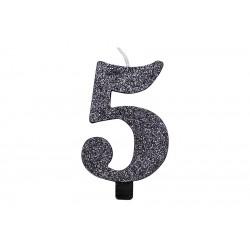 """Juoda žvakutė tortui skaičius """"5"""""""