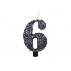"""Juoda žvakutė tortui skaičius """"6"""""""