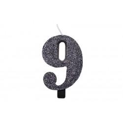 """Juoda žvakutė tortui skaičius """"9"""""""