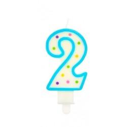 """Torto žvakutė """"2"""" melsva"""