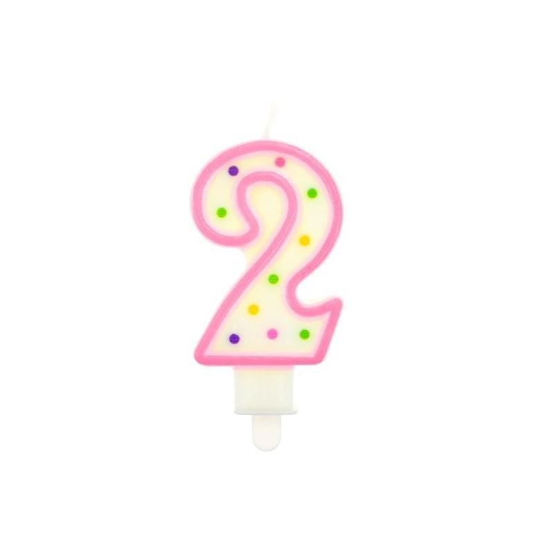 """Torto žvakutė """"2"""" rožinė"""