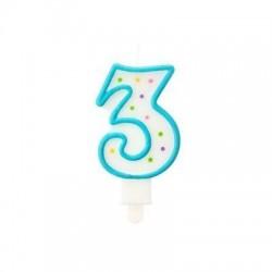 """Torto žvakutė """"3"""" melsva"""