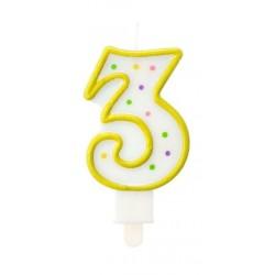 """Torto žvakutė """"3"""" geltona"""