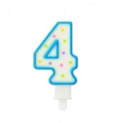 """Torto žvakutė """"4"""" melsva"""
