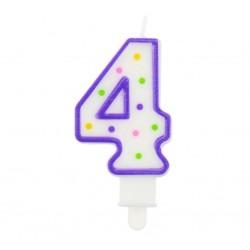 """Torto žvakutė """"4"""" violetinė"""