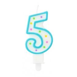 """Torto žvakutė """"5"""" melsva"""