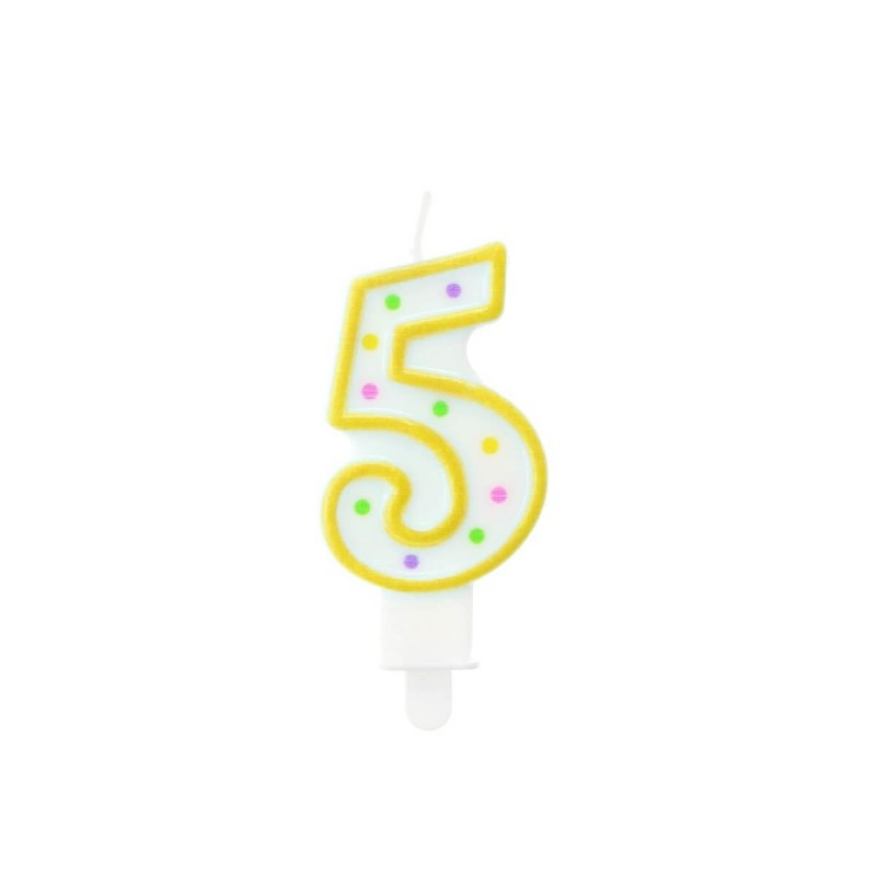 """Torto žvakutė """"5"""" geltona"""