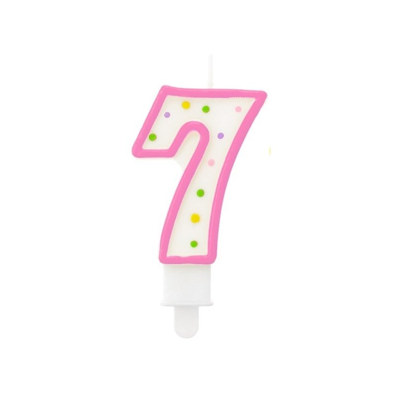 """Torto žvakutė """"7"""" rožinė"""