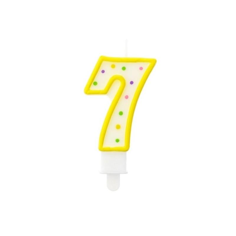 """Torto žvakutė """"7"""" geltona"""