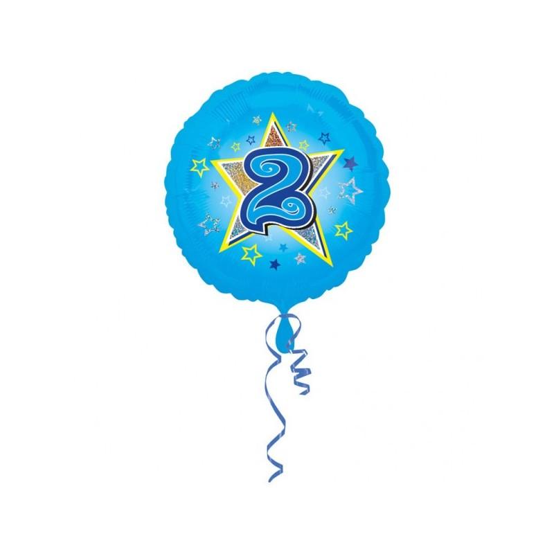 """Folinis balionas """"Skaičius 2""""/melsvas"""