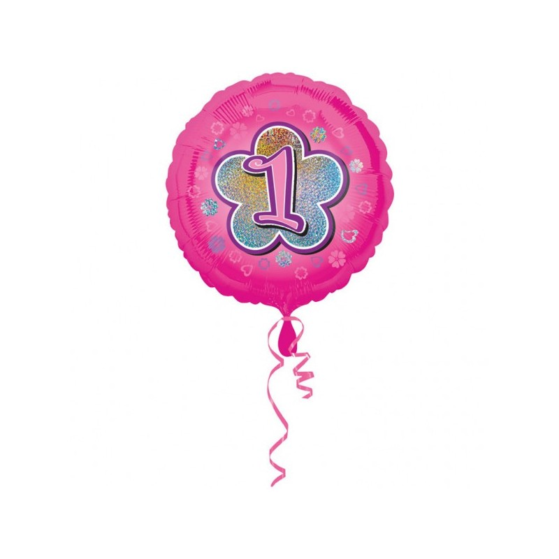"""Folinis balionas """"Skaičius 1""""/rožinis"""