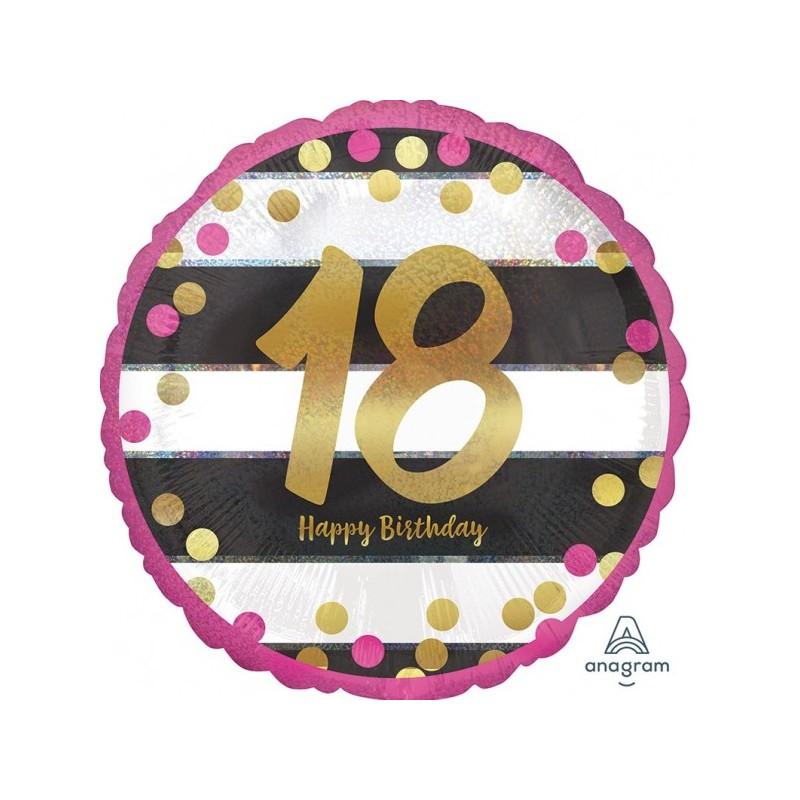 """Folinis balionas """"Skaičius 18""""/ rožinis"""