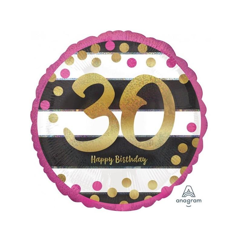 """Folinis balionas """"Skaičius 30""""/ rožinis"""