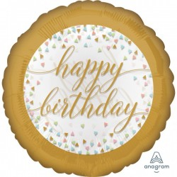 "Folinis balionas ""Happy Birthday""/auksi."