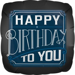 """Folinis balionas """"Happy Birthday""""/juodas"""