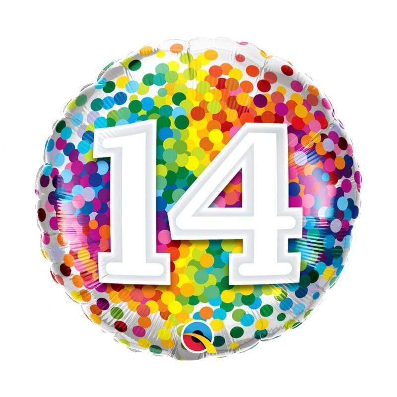 """Folinis balionas """"Skaičius 14""""/burbu."""