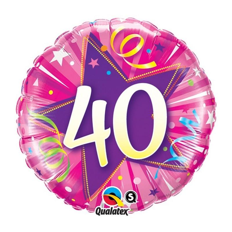 """Folinis balionas """"Skaičius 40""""/rožinis"""