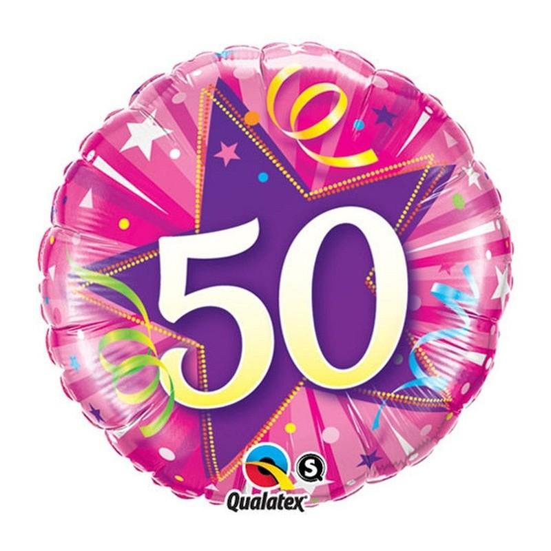 """Folinis balionas """"Skaičius 50""""/rožinis"""
