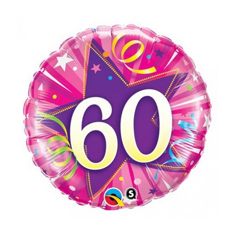 """Folinis balionas """"Skaičius 60""""/rožinis"""