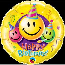 "Fol. balionas ""Happy Birthday""/šypsenos"
