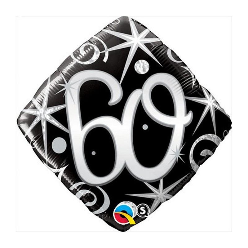 """Folinis balionas """"Skaičius 60""""/juodas"""