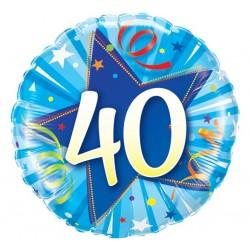 """Folinis balionas """"Skaičius 40""""/mėlynas"""