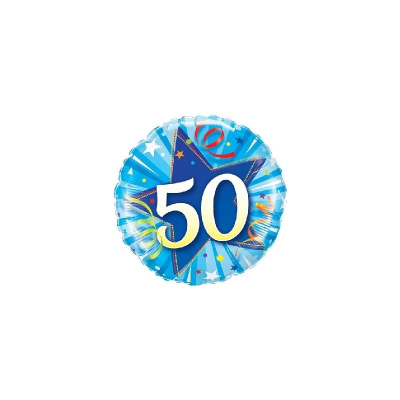 """Folinis balionas """"Skaičius 50""""/mėlynas"""
